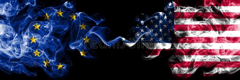 Unia Europejska vs Stany Zjednoczone Ameryka, amerykanina dymu flaga umieszczająca strona strona - obok - Gęste barwione silky  ilustracja wektor