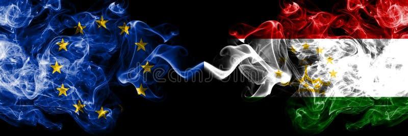 Unia Europejska vs Tajikistan, Tajikistani dymu flaga umieszczająca strona strona - obok - Gęste barwione silky dymne flagi UE  ilustracja wektor