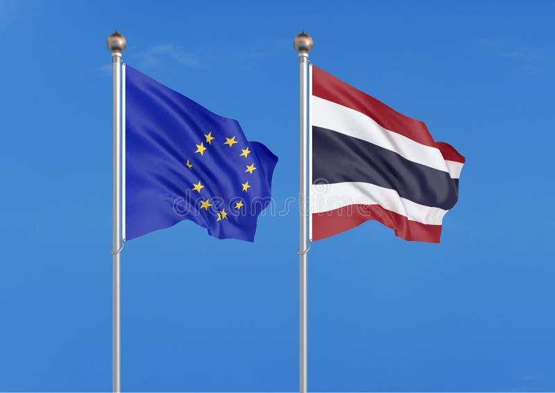 Unia Europejska vs Tajlandia Gęste barwione silky flagi unia europejska i Izrael 3D ilustracja na nieba tle ? ilustracji