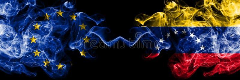 Unia Europejska vs Wenezuela, wenezuelczyka dymu flaga umieszczająca strona strona - obok - Gęste barwione silky dymne flagi UE ilustracji