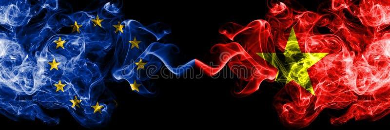 Unia Europejska vs Wietnam, wietnamczyka dymu flaga umieszczająca strona strona - obok - Gęste barwione silky dymne flagi UE i  ilustracji