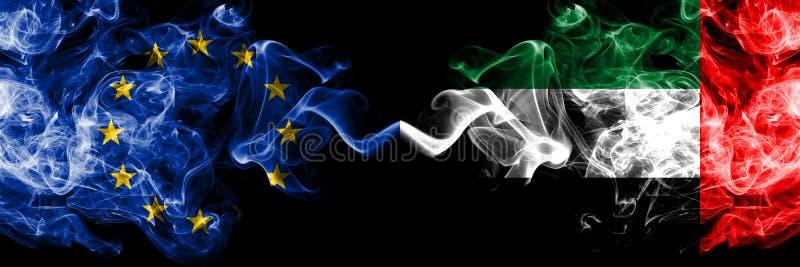 Unia Europejska vs Zjednoczone Emiraty Arabskie, Emirati dymu flaga umieszczająca strona strona - obok - Gęste barwione silky d ilustracji