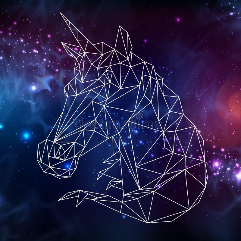 Unicórnio animal da fantasia poligonal abstrata do tirangle no fundo do espaço aberto ilustração stock