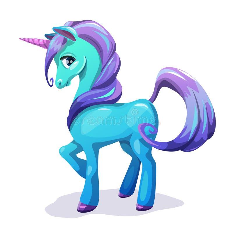Unicórnio azul dos desenhos animados bonitos com cabelo roxo ilustração stock