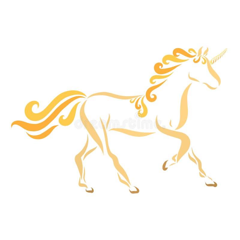 Unicórnio bonito, animal do conto de fadas, teste padrão ilustração stock
