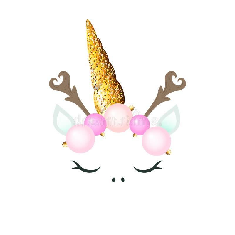 Unicórnio bonito com decoração do Natal - as bolas cor-de-rosa brilham chifre e ramos como o chifre da rena ilustração royalty free