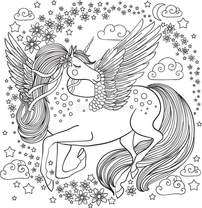 Unicórnio bonito com flores e estrelas ilustração royalty free