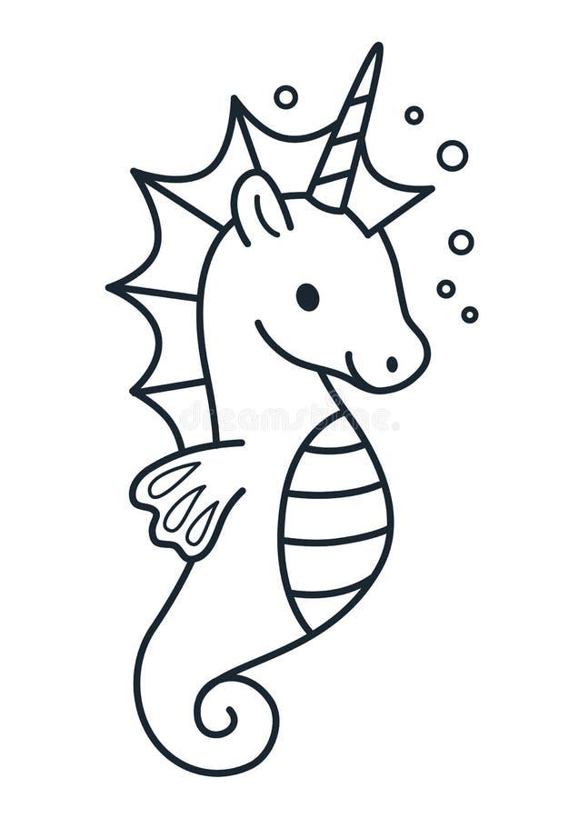 Unicórnio bonito com ilustração simples do vetor dos desenhos animados da juba roxa ilustração royalty free