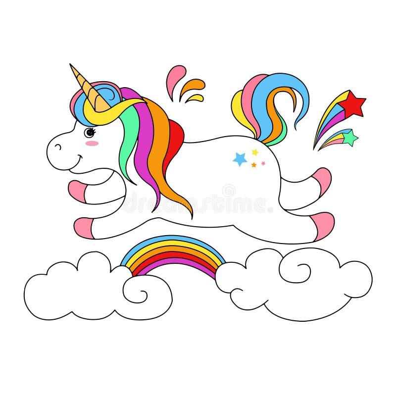 Unicórnio bonito com o arco-íris nas nuvens ilustração royalty free