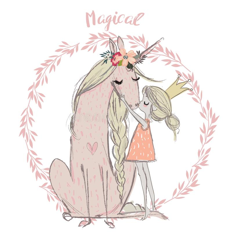 Unicórnio bonito com princesa ilustração royalty free