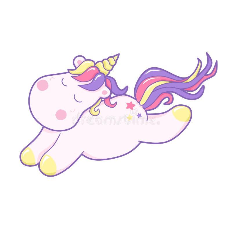 Unicórnio bonito de Kawaii que dorme docemente cor pastel ilustração do vetor