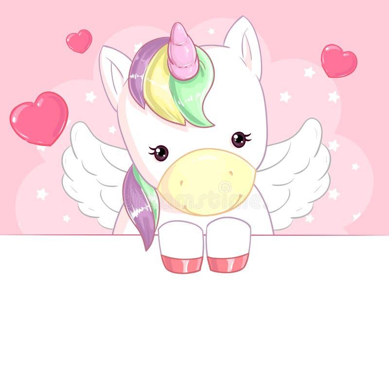 Unicórnio bonito do arco-íris com as asas no fundo cor-de-rosa com corações e bandeira ilustração stock