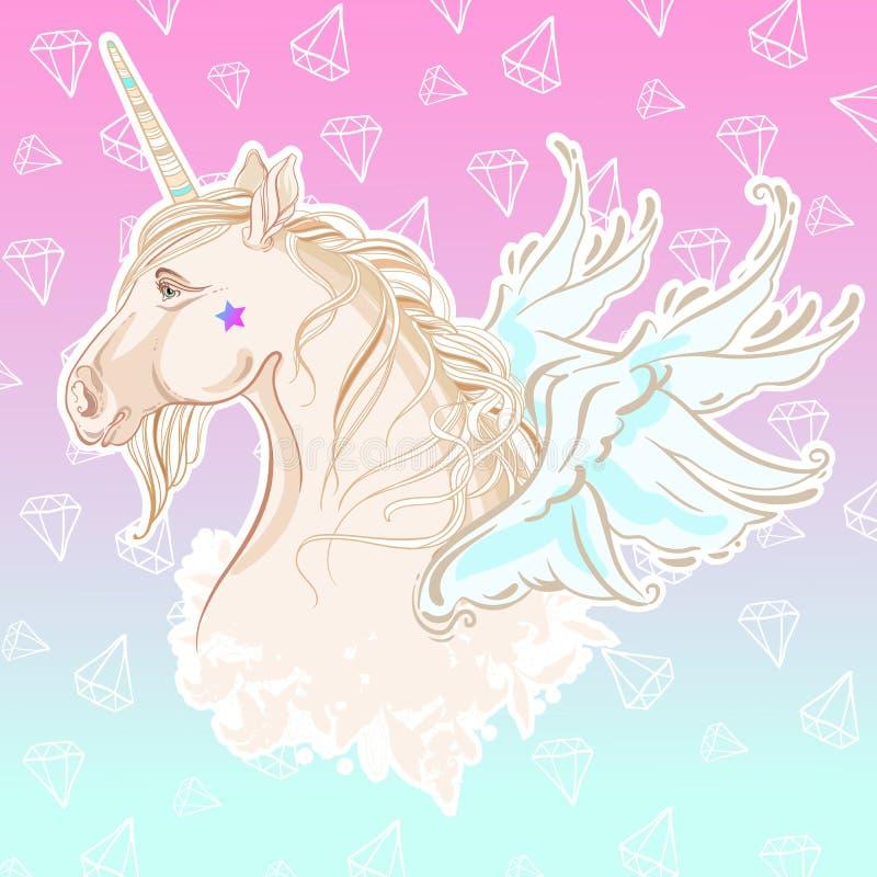 Unicórnio bonito do estilo da baunilha com com as asas nas cores pastel fundo Azul-cor-de-rosa do diamante Vetor conservado em es ilustração royalty free