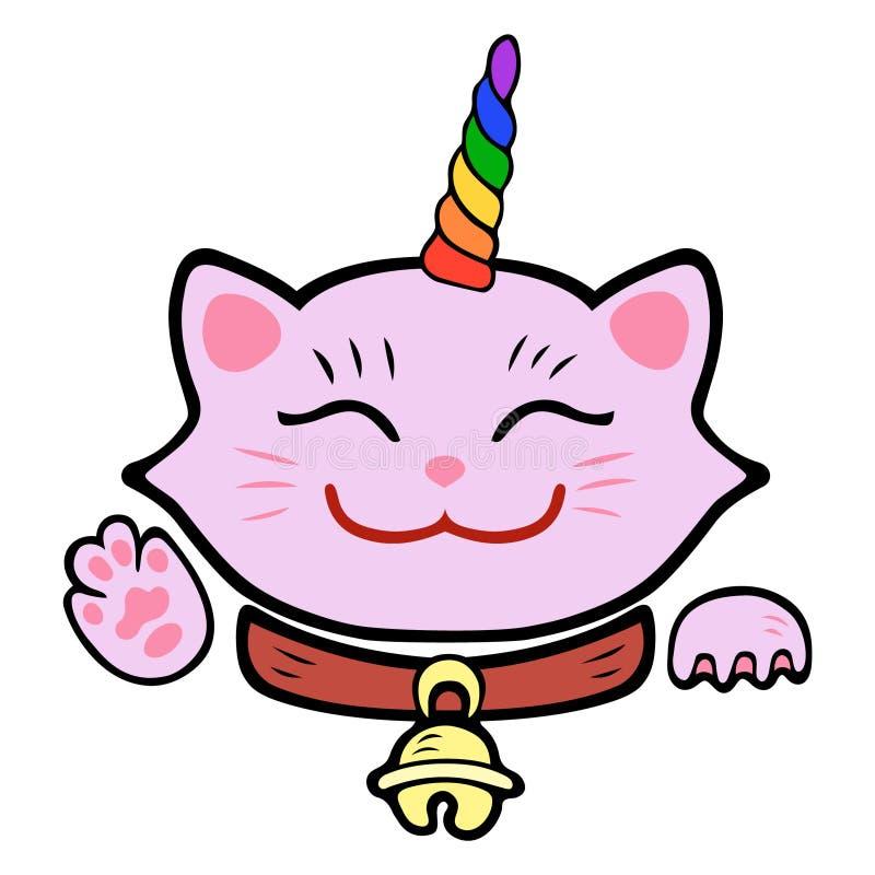 Unicórnio bonito do gato Maneki cor-de-rosa Neko ilustração do vetor