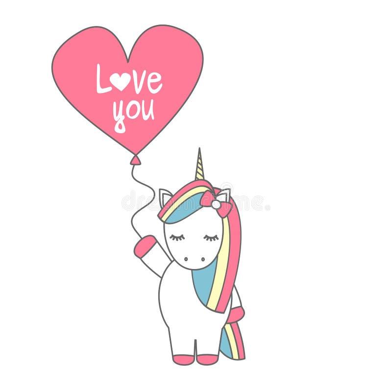 Unicórnio bonito do vetor dos desenhos animados com o balão com a mão tirada rotulando o amor que você text ilustração stock