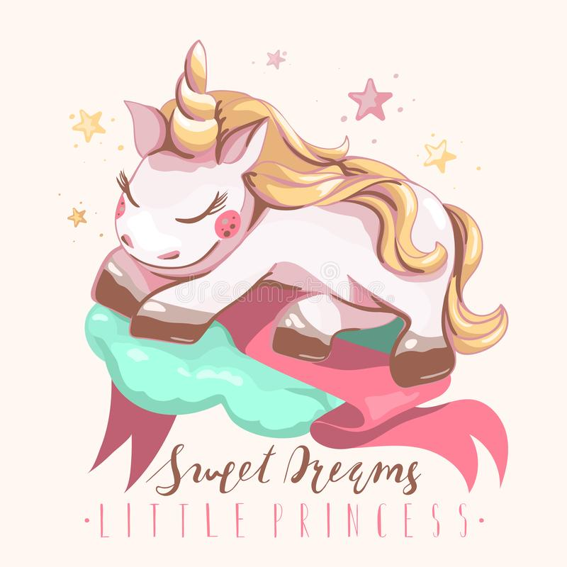 Unicórnio bonito, dormindo, sonhando em uma nuvem da cor da hortelã com fita cor-de-rosa, as estrelas bonitas e a rotulação, tipo ilustração do vetor
