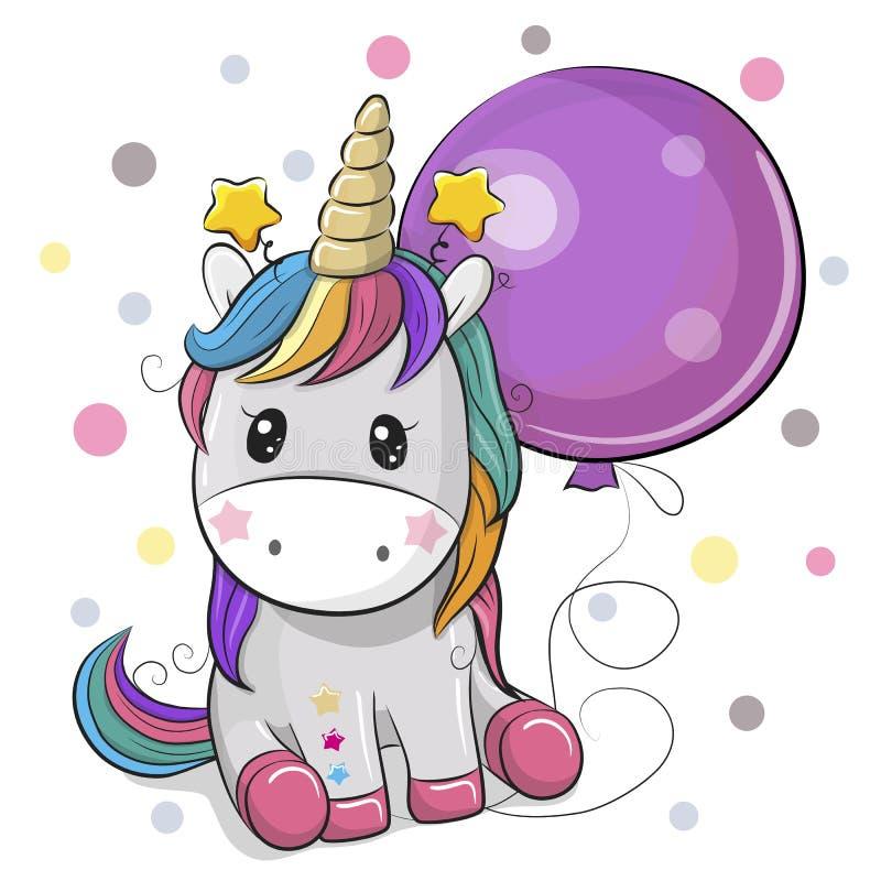 Unicórnio bonito dos desenhos animados com balão ilustração royalty free