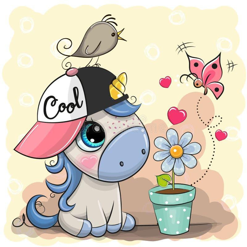 Unicórnio bonito dos desenhos animados do cartão com flor ilustração royalty free