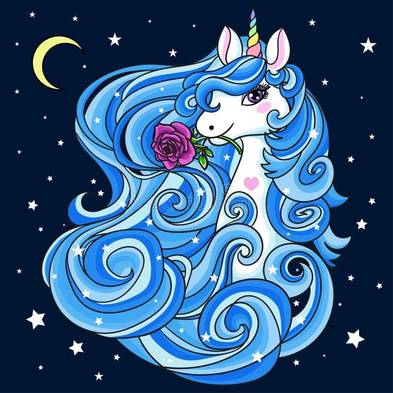 Unicórnio branco bonito com uma juba azul, longa Animal Mythical Vetor ilustração royalty free