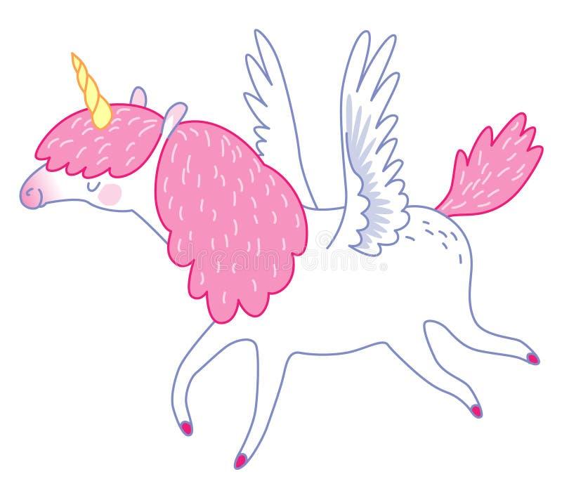 Unicórnio branco do voo ilustração royalty free