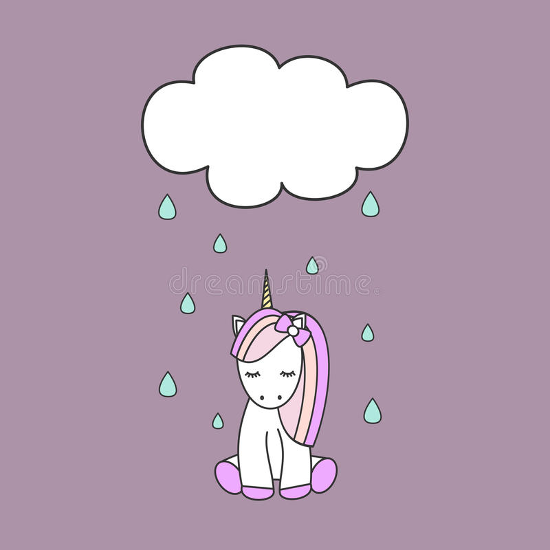 Unicórnio colorido bonito e nuvem dos desenhos animados com ilustração da chuva ilustração royalty free