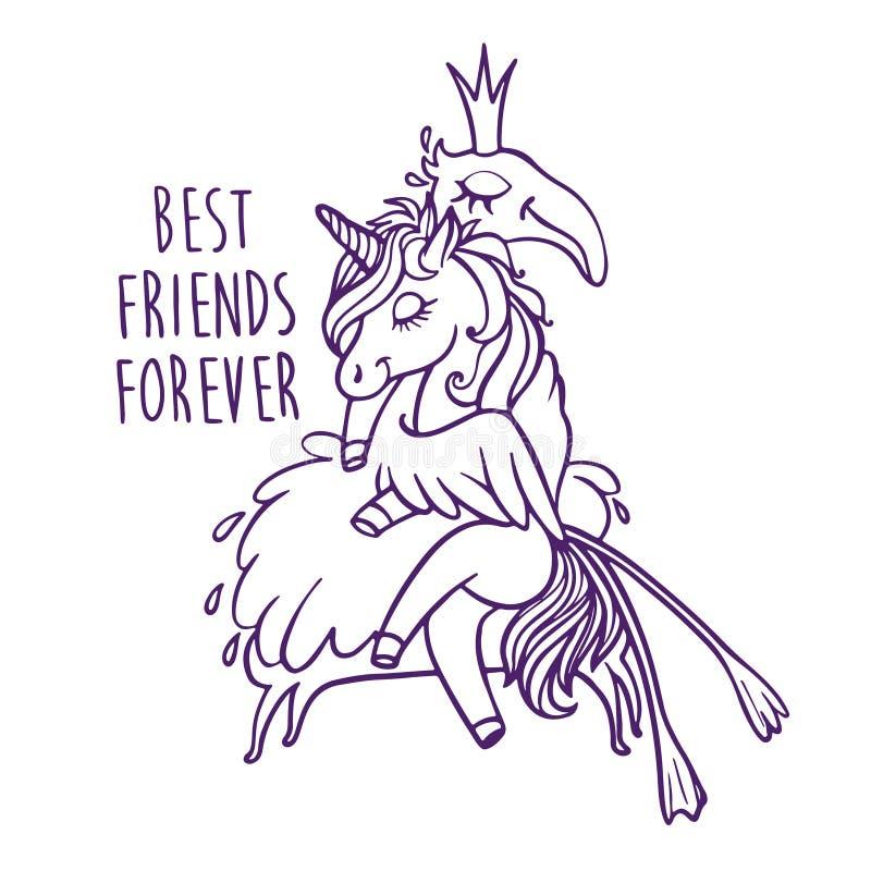 Unicórnio com flamingo Melhores amigos para sempre Carro do cumprimento do vetor ilustração do vetor