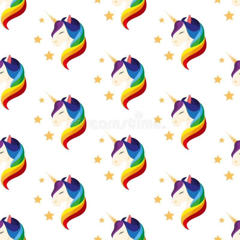 Unicórnio com olhos fechados Juba do arco-íris Vetor sem emenda ilustração stock