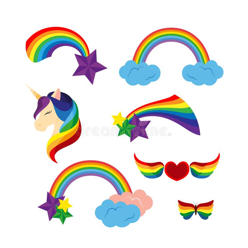 Unicórnio com os arcos-íris fechados dos olhos, estrelas O coração com arco-íris coloriu as asas Borboleta ilustração do vetor