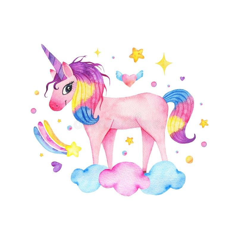 Unicórnio cor-de-rosa mágico bonito da aquarela com o arco-íris, as nuvens e a estrela isolados ilustração do vetor