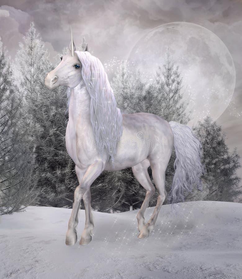 Unicórnio da fantasia em uma floresta nevado ilustração royalty free