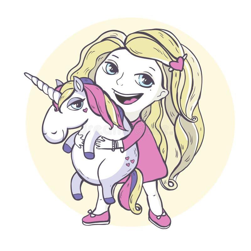 Unicórnio da mágica da menina e dos desenhos animados ilustração do vetor