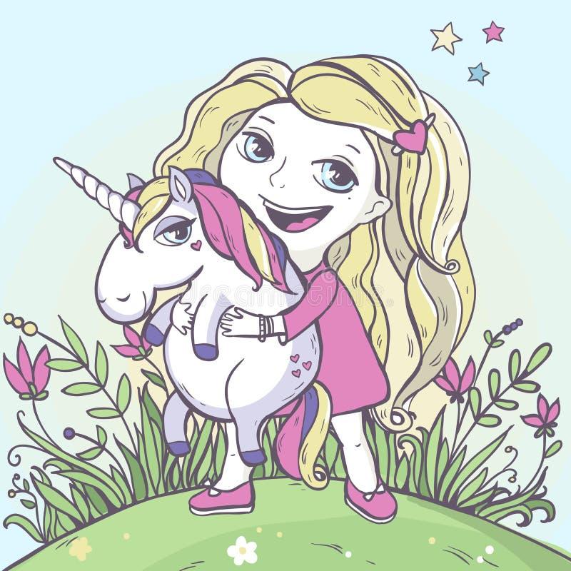 Unicórnio da mágica da menina e dos desenhos animados ilustração stock