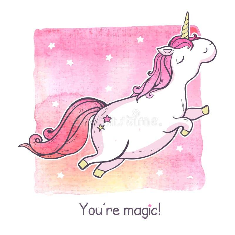 Unicórnio da mágica dos desenhos animados ilustração royalty free