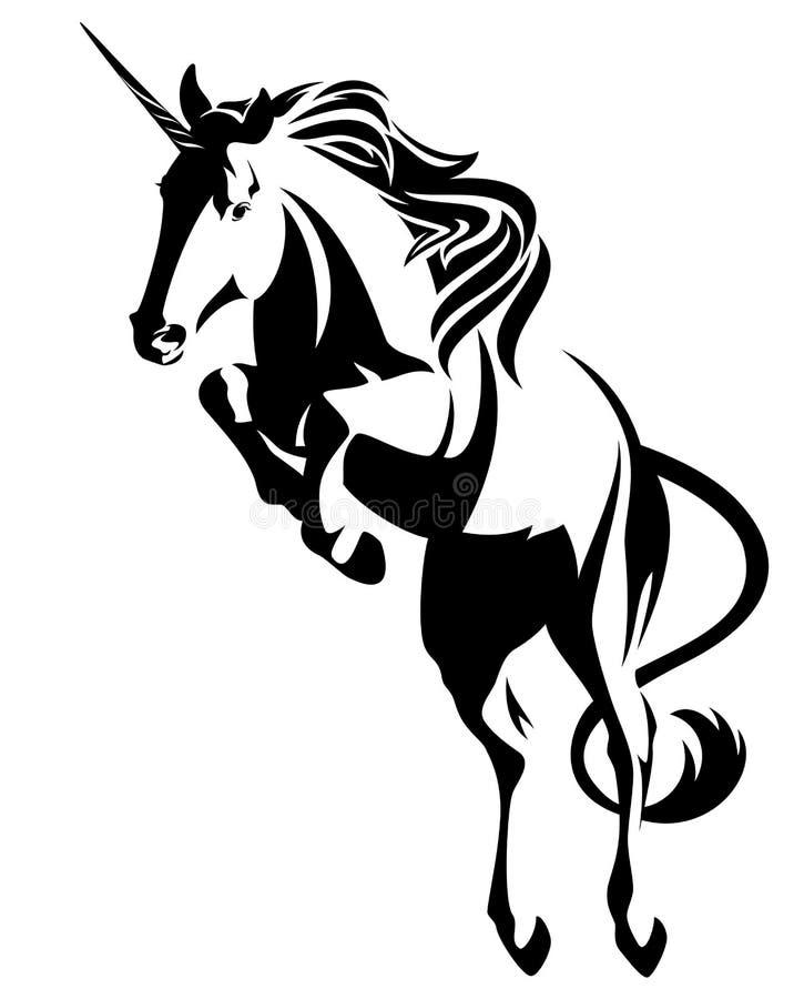 Unicórnio de salto - projeto mítico do vetor do preto do cavalo ilustração do vetor