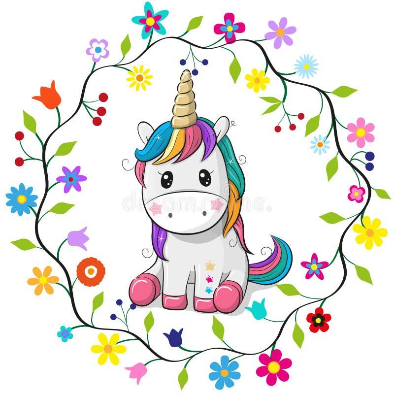 Unicórnio dos desenhos animados em um quadro das flores