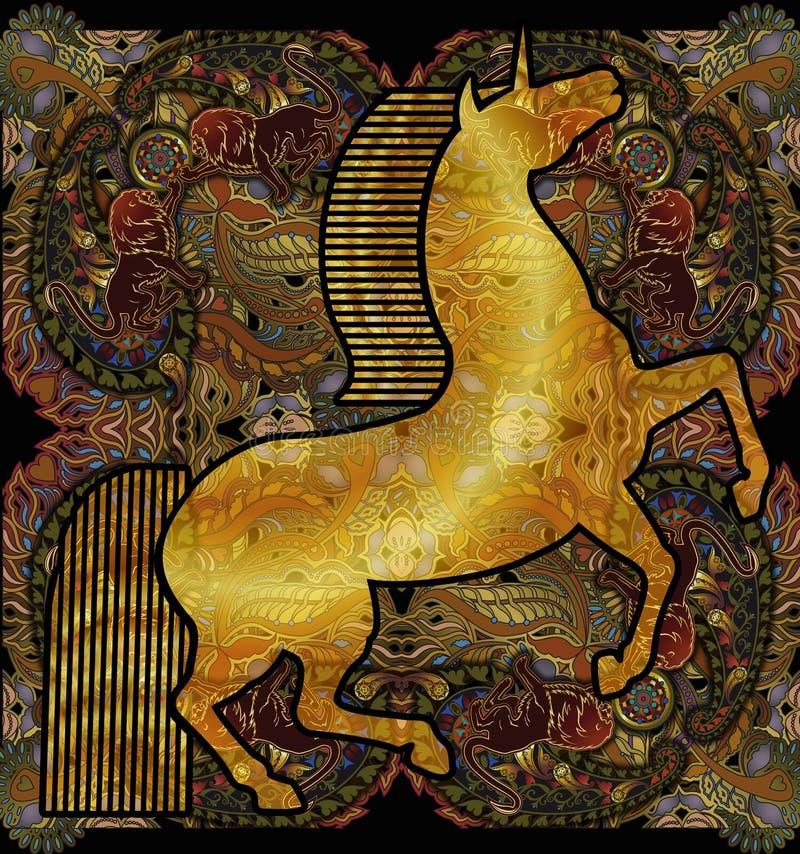 Unicórnio dourado, fundo modelado étnico floral ilustração do vetor