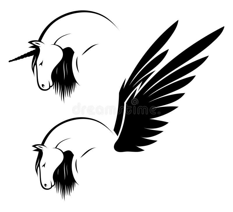 Unicórnio e pegasus ilustração stock