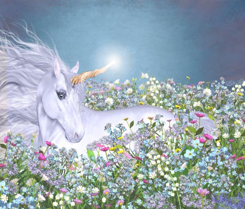 Unicórnio em um mar das flores ilustração royalty free