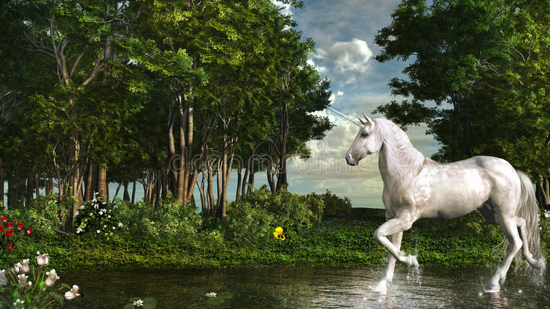 Unicórnio em uma floresta mágica ilustração royalty free