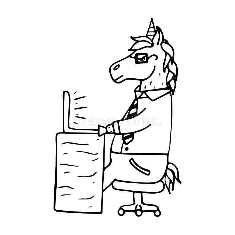 Unicórnio-gerente desenhado à mão bonito que trabalha atrás do portátil ilustração royalty free