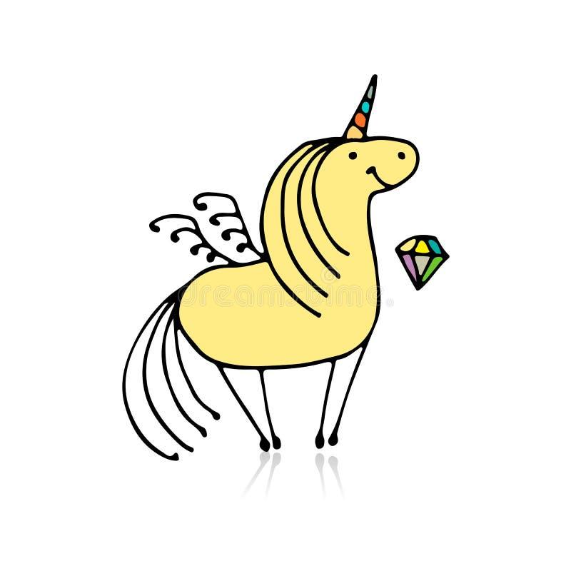 Unicórnio mágico, esboço para seu projeto ilustração royalty free