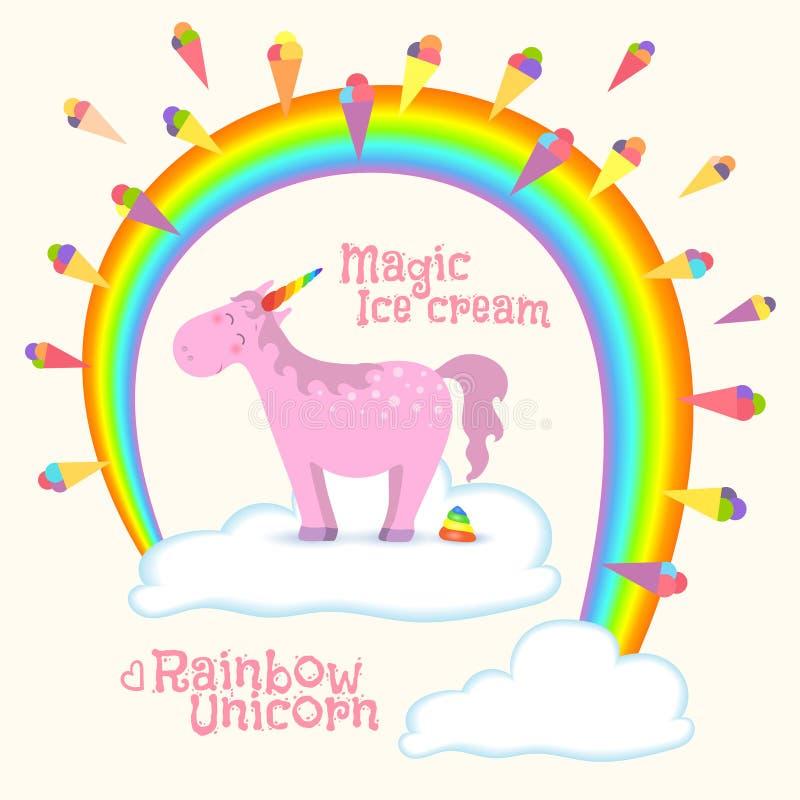 Unicórnio mágico que está na nuvem ilustração royalty free