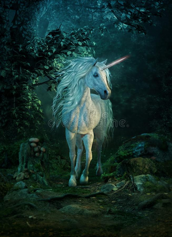 Unicórnio mítico, 3d CG ilustração royalty free