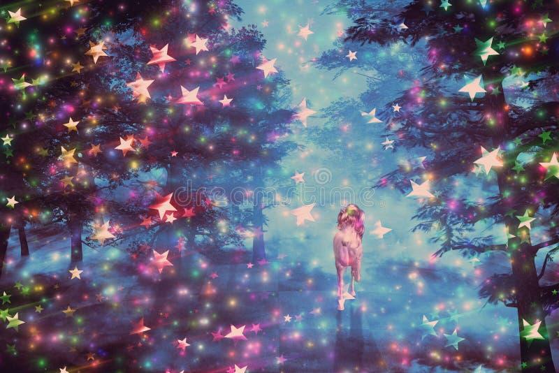 Unicórnio na floresta estrelado ilustração do vetor