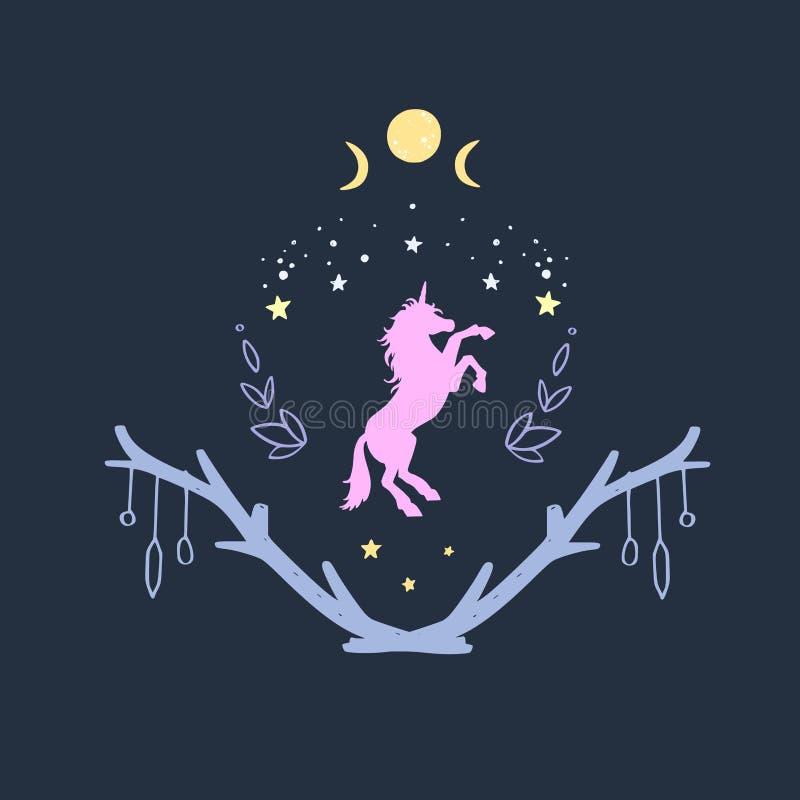 Unicórnio na noite com céu estrelado e a lua Estilo da fantasia, ilustração conceptual do sonho mágico da floresta, tatuagem ilustração do vetor