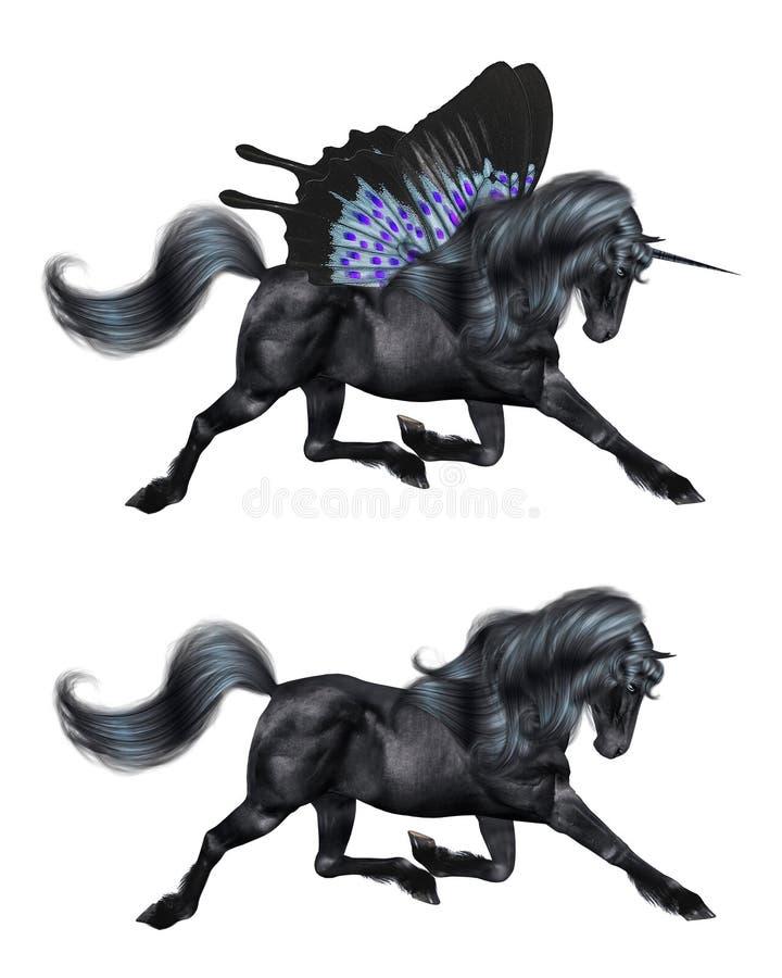 Unicórnio preto com asas da borboleta ilustração do vetor