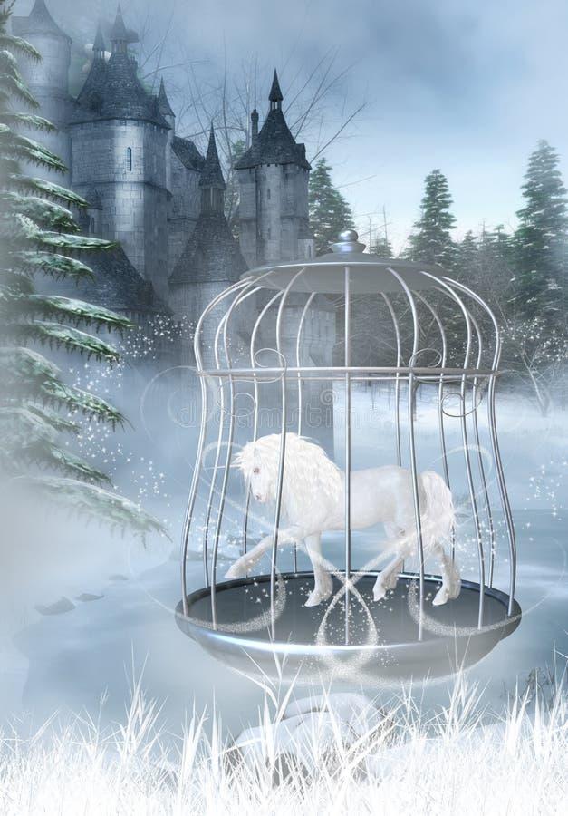 Unicórnio prisioneiro ilustração royalty free