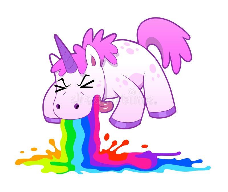 Unicórnio que vomita o arco-íris ilustração royalty free
