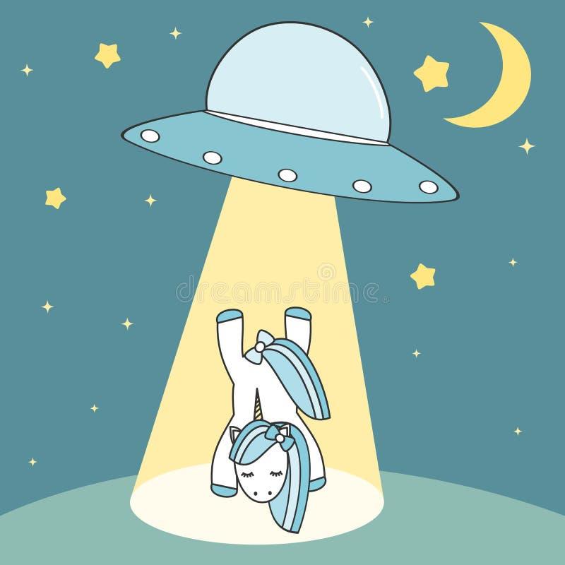 Unicórnio sequestrado pela ilustração bonito dos desenhos animados do UFO ilustração royalty free