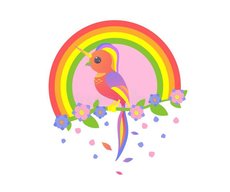 Unicórnio sob a forma de um pássaro bonito que senta em um ramo uma árvore com flores ilustração royalty free